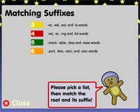 Suffixes: Word lists